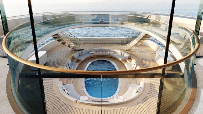 Erstaunlicher Pool an Bord des Superyacht-Konzepts Pure © Feadship